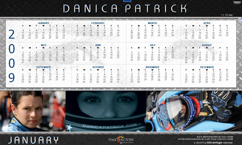 Danica Patrick 2009 Calendar for Windows